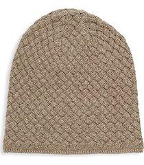 basket weave cashmere, silk & wool beanie