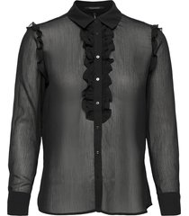 button up shirt with ruffles in print & solid blus långärmad svart scotch & soda