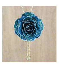 gold plated natural rose lariat necklace, 'garden rose in dark blue' (thailand)