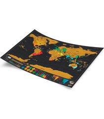 mapa pôster scratch off versão luxo guia de viagem aventura enfeite decoração