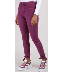 calça de sarja feminina sawary skinny jogger cintura alta com nó roxa
