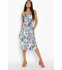 tall abstracte midi jurk met strik en bandjes, multi