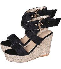 lady sandals sandalias de tacón con pendiente sandalias de tacón alto para mujer tejidas con cáñamo