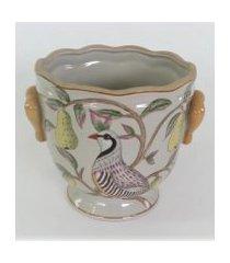 cachepot porcelana pera e pássaro