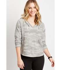 maurices womens gray camo pullover hoodie