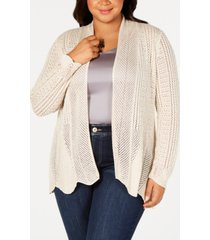 belle by belldini plus size scalloped-hem open-front cardigan