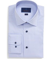 men's big & tall david donahue plaid trim fit dress shirt, size 17.5 - 36/37 - blue