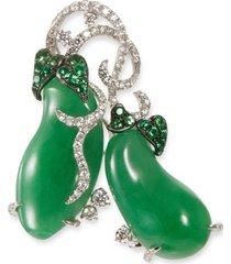 diamond garnet jade 18k gold brooch