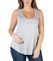 24seven comfort apparel women's plus size round hemline razorback tank top