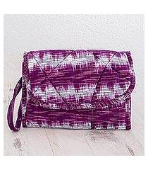 cotton wristlet bag, 'amethyst twilight' (guatemala)