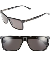 men's boss '0704ps' 57mm polarized sunglasses - black/ dark ruthen/ grey