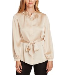 vince camuto charmeuse button-down belted tunic top