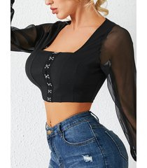 yoins cuadrado de empalme de malla negra cuello blusa con mangas de linterna