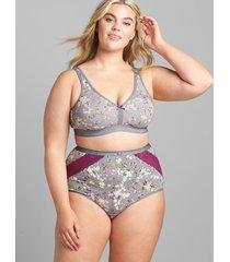 lane bryant women's cotton high-waist brief panty with lace trim 34/36 mini blooms