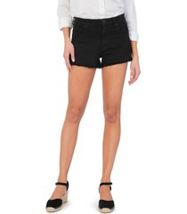 kut from the kloth jane high waist distressed fray hem cutoff denim shorts, size 2 in black at nordstrom
