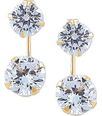 swarovski zirconia top & wire drop earrings in 14k gold