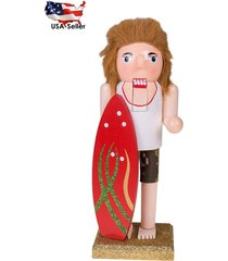 "new 10"" tall wooden christmas nutcracker by clever creations red surfer board"