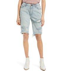 women's one teaspoon ripped cutoff denim bermuda shorts, size 29 - blue