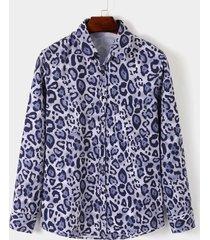 hombres otoño casual animal leopardo todo estampado sexy camisa