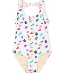 andorine crystals print swimsuit - white