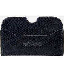 núnoo women's carla snake card holder - black
