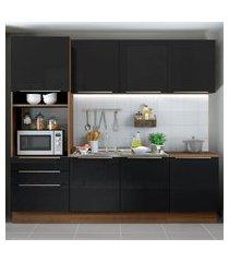 cozinha completa madesa lux com armário e balcáo 7 portas 3 gavetas - rustic/preto marrom