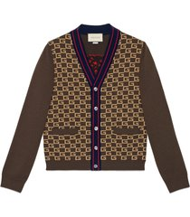 gucci square g cardigan with tiger - brown