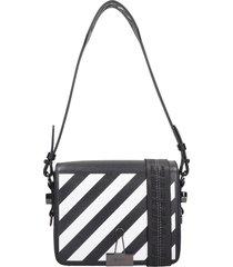 off-white diag flap shoulder bag in black leather