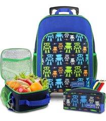conjunto mochila com rodinhas g, lancheira térmica, estojo menino jacki design azul marinho