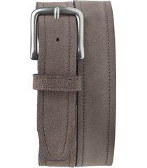 men's trask sutton belt, size 38 - gray suede