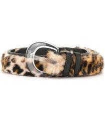 maison margiela faux fur leopard print belt - brown