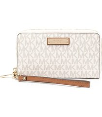 michael michael kors logo continental leather wristlet - white