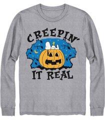 hybrid men's creepin it real cookie monster halloween long sleeve t-shirt