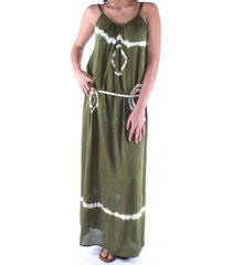 pure-kenya strandjurkje pure kenya batik long dress army green-s / m