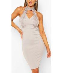 bodycon-midi-jurk met kanten details, zilver