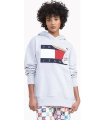 tommy hilfiger women's space jam: a new legacy x tommy jeans hoodie light grey heather - l