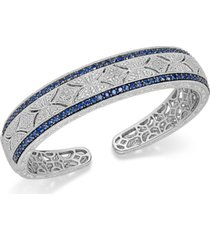 sapphire (2-3/8 ct. t.w.) and diamond (1/10 ct. t.w.) antique cuff bracelet in sterling silver (also available in emerald and ruby