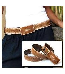 distressed leather belt, 'brown bridge' (indonesia)