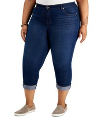 style & co plus size tummy control capri jeans, created for macy's