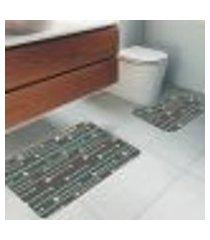 jogo tapetes para banheiro 2 peças flechas boho único