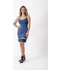 anágua vestido dulcet barra renda azul jeans