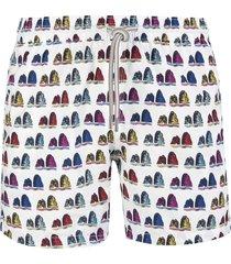 capri code white swimsuit with multicolor faraglioni pattern