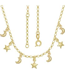 gargantilha prata mil com estrelas e luas com alongador 5cm dourado