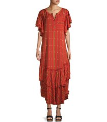 free people women's better days striped maxi dress - red combo - size l