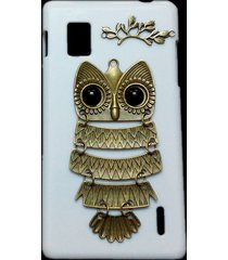 3d cute retro bronze metal owl branch hard back case cover for lg optimus g e975