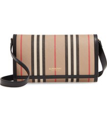 burberry icon stripe e-canvas wallet with detachable strap in archive beige at nordstrom