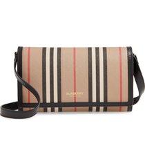 burberry icon stripe e-canvas wallet with detachable strap - beige