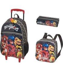 kit mochila com rodinhas miraculous girls com lancheira e estojo feminina