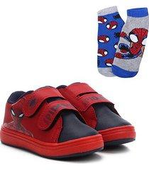 kit tênis infantil marvel spider man + 2 meias masculino - masculino