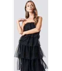 na-kd party tulle layered midi dress - black